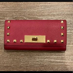 Michael Kors red studded long wallet